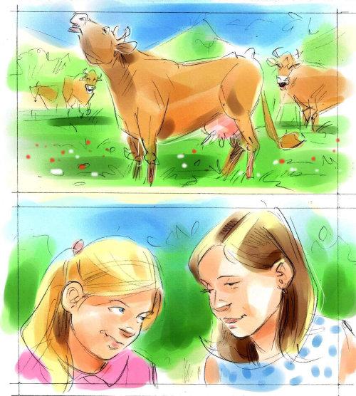 Ilustración abstracta de animales vaca y niñas
