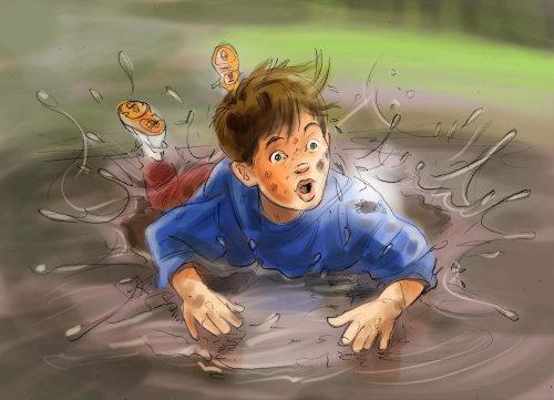 Niño, caer, agua