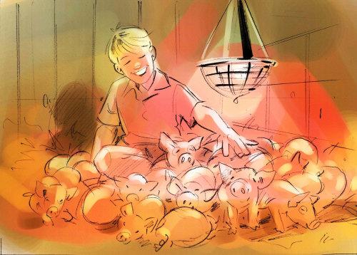 Línea de cría de cerdos y arte en color.