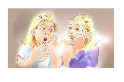 Cartoon illustration of singing kids