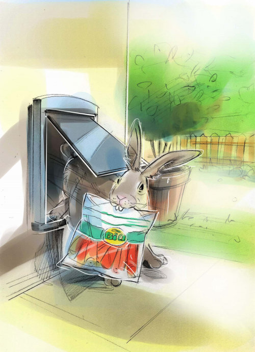 Watercolor painting of rabbit