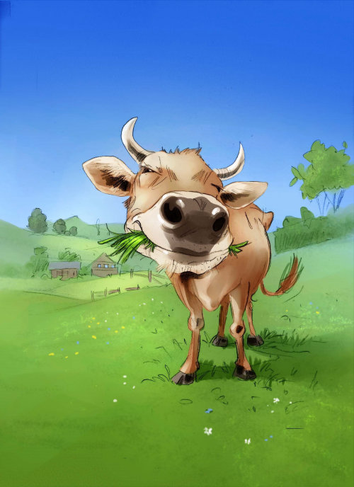 Nature illustration of cow eating gross