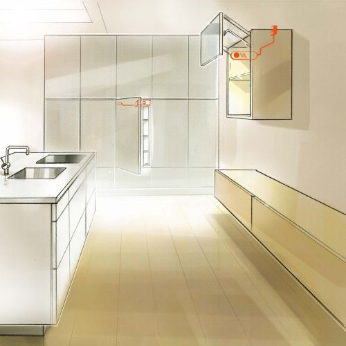 Digital painting of kitchen