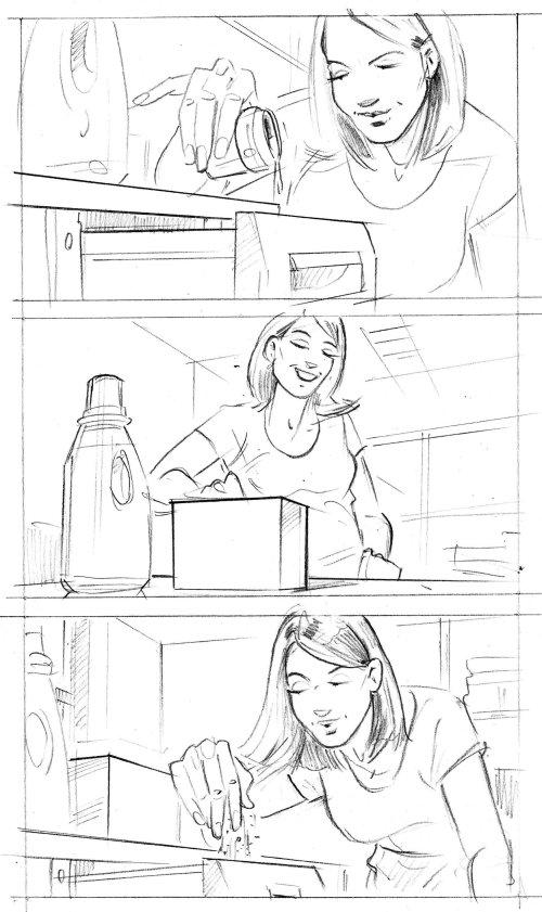 Storyboard illustration of filling water in bottle