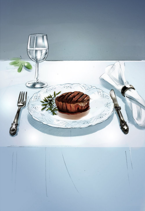 Digital painting of dining table illustration