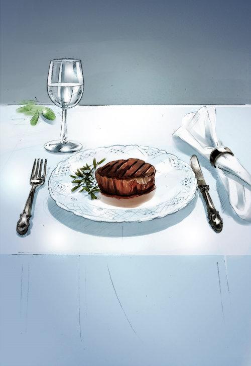 餐桌插图的数字绘画