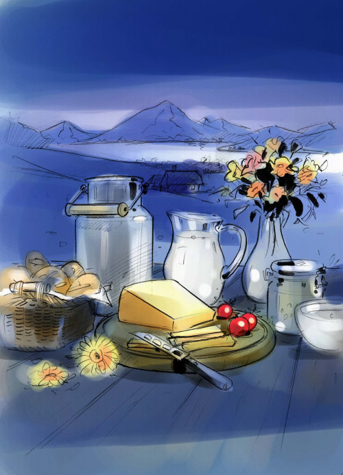 Food and drink illustration of night dinner