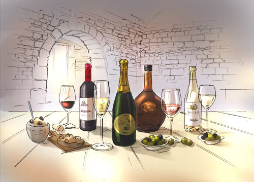 Food and drink illustration of wine