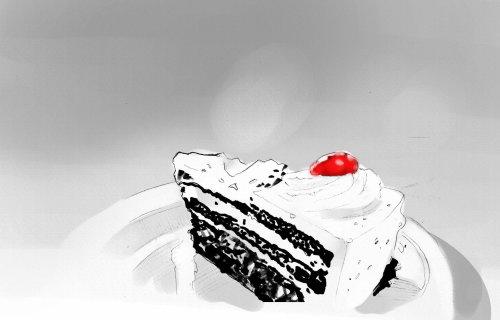 Food illustration of cream cake