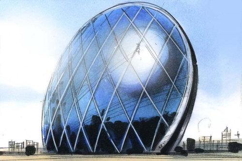 玻璃房子的建筑插图