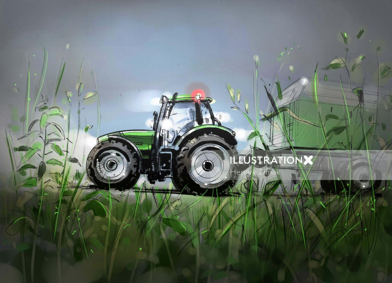 Technical illustration of tractor