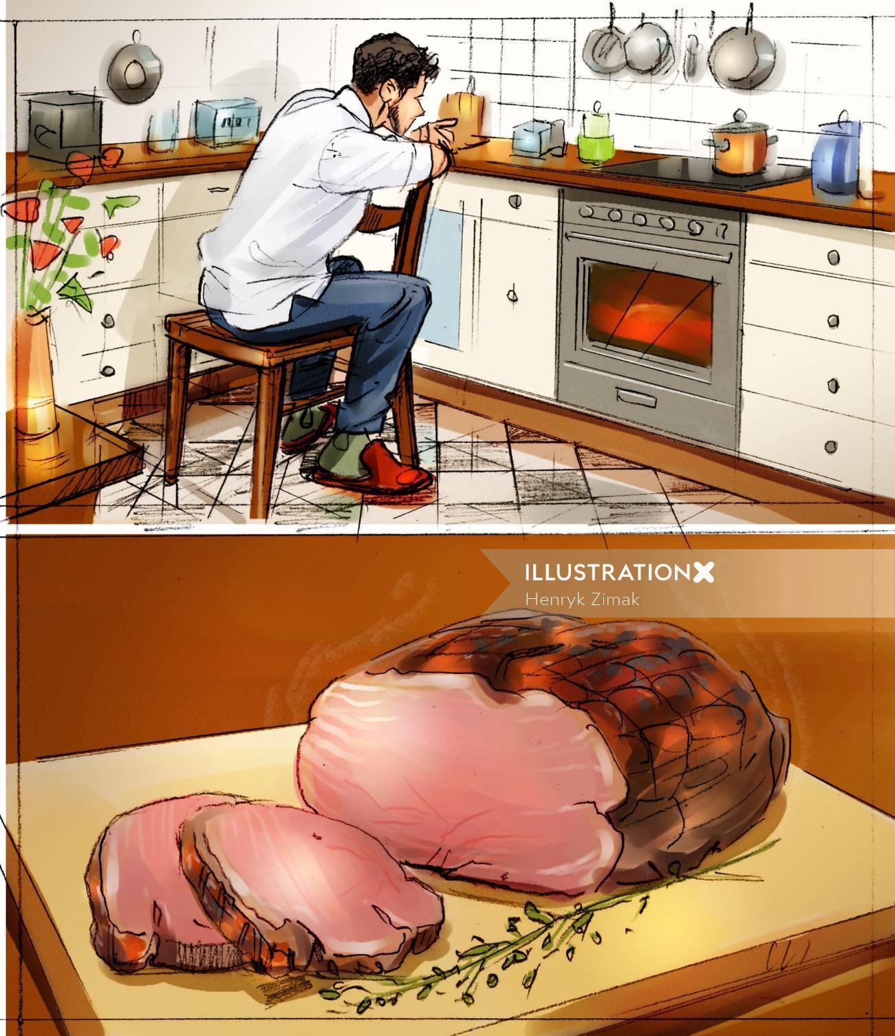 Storyboard illustration of cutting chicken