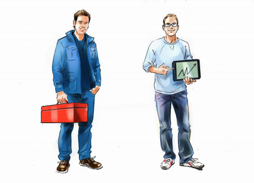 Types of employees digital painting