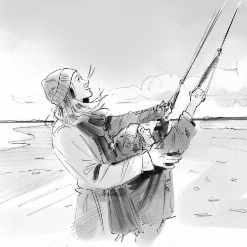 Black and white design of fishing
