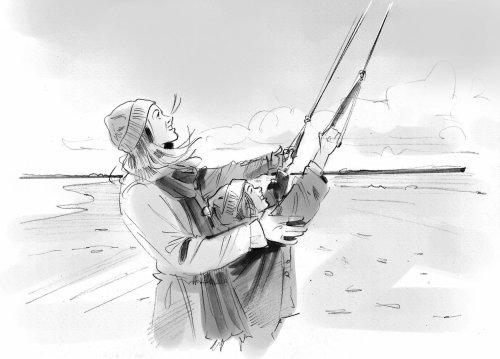 钓鱼的黑白设计