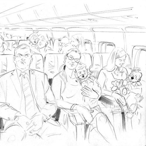 Line art of inside plane