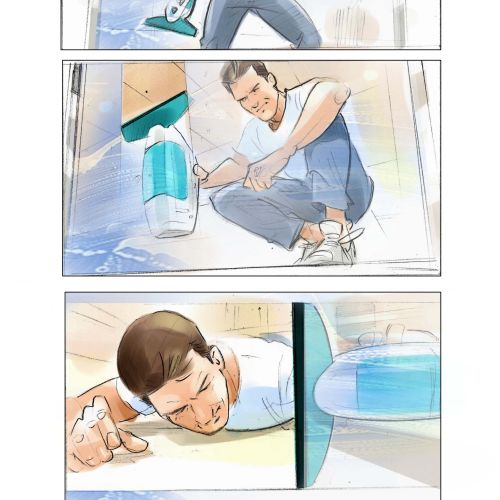 Storyboard illustration of cleaning house