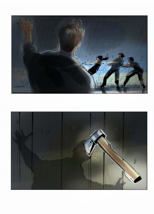 Storyboard illustration of killing men