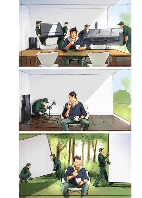 Storyboard illustration of film shooting