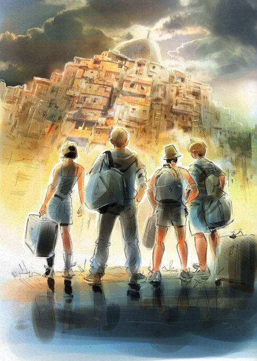 Adventures People watercolor painting