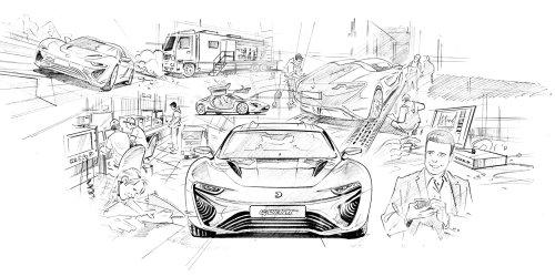Paper art of sports car