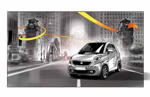 Advertising illustration of car