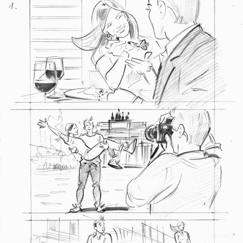 Storyboard illustration of couple vacation