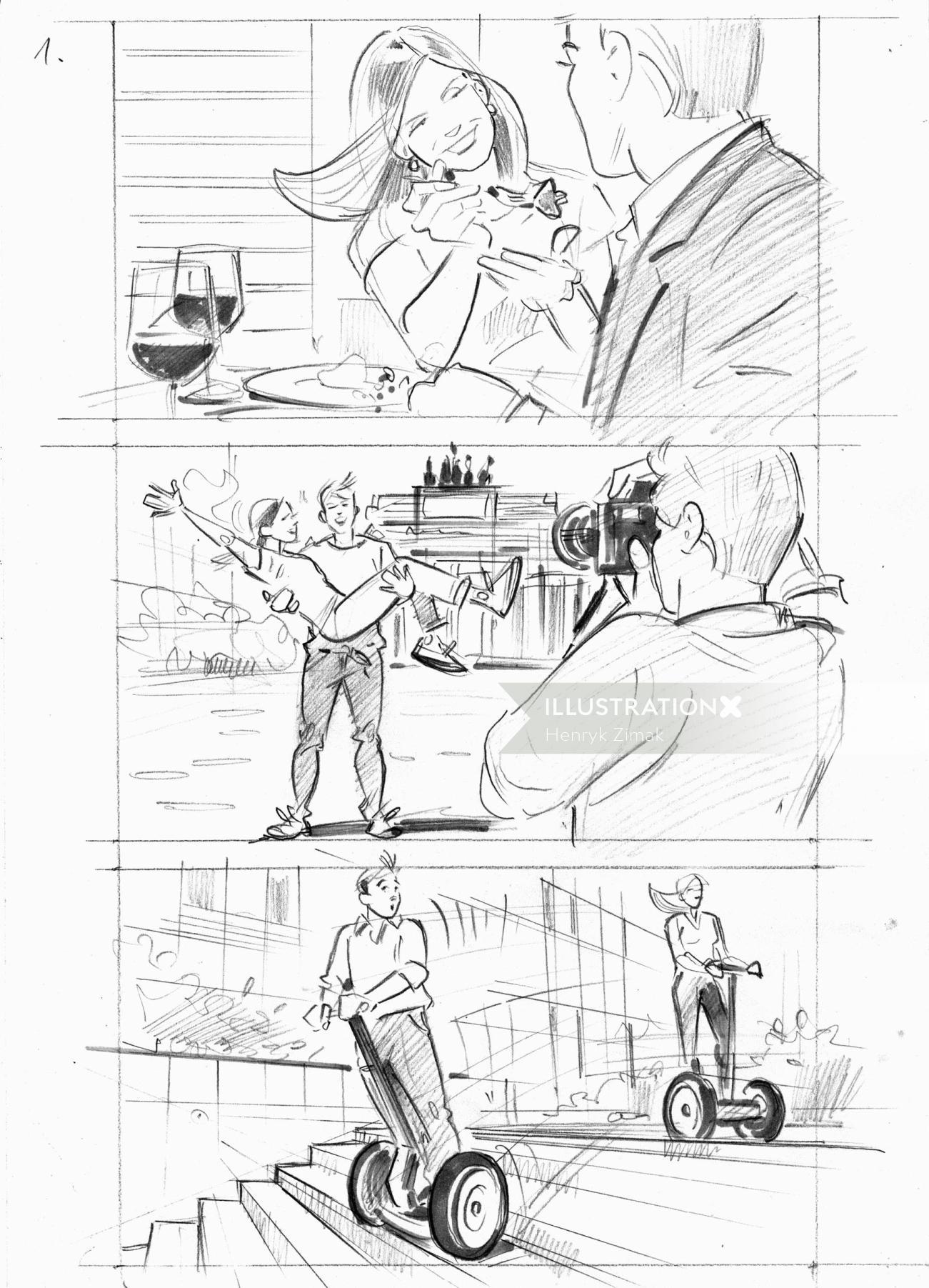 Storyboard illustration of couple vacation