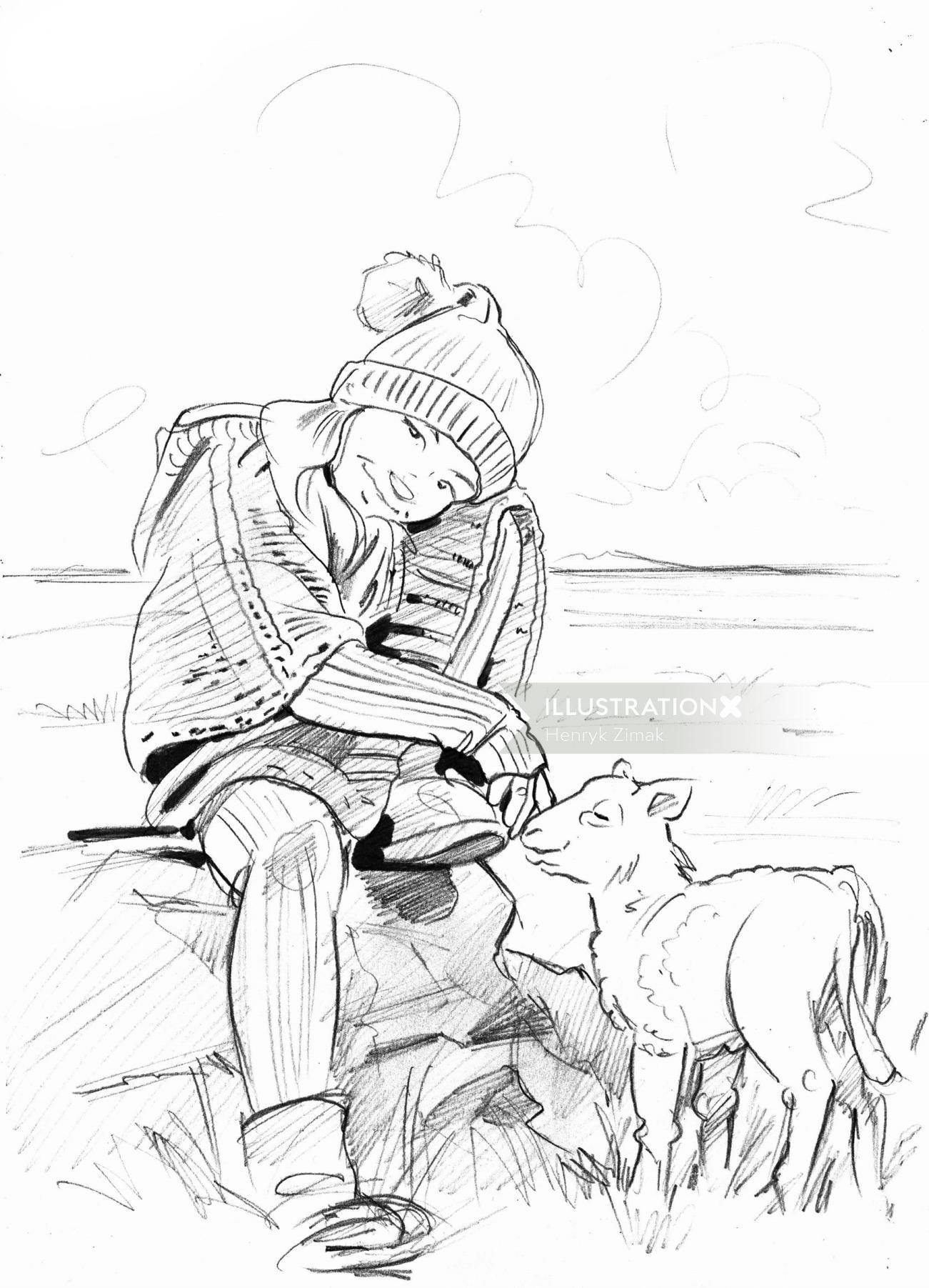 Sketch art of small boy