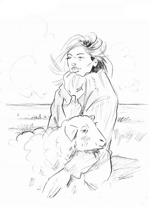 Line drawing of girl with sheep