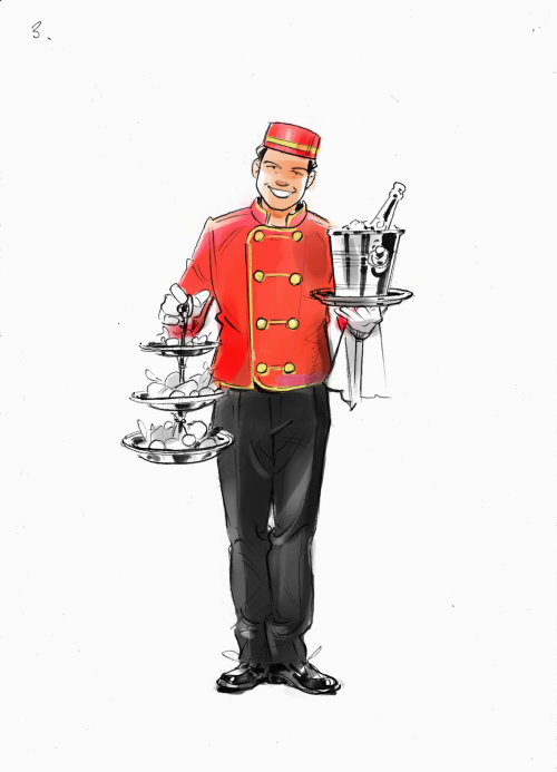 Watercolor painting of food server