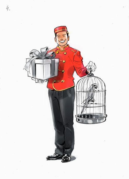 有礼物的送货人的图形设计