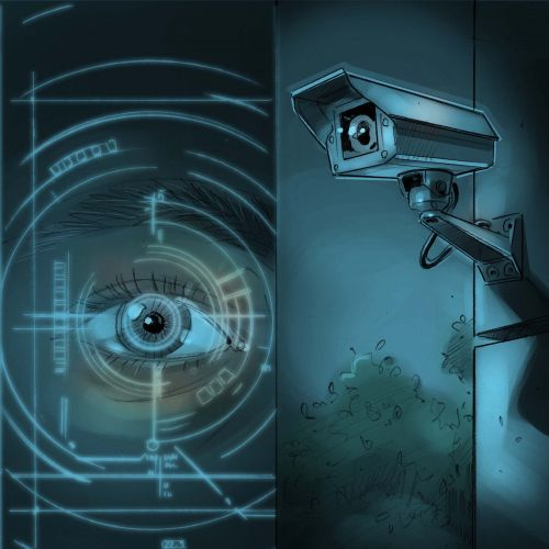 illustration of cctv camera and eye watching