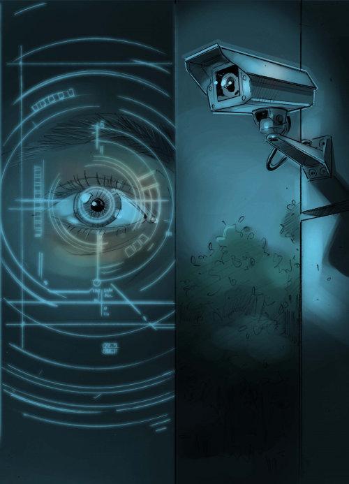 illustration of cctv camera and eye watching