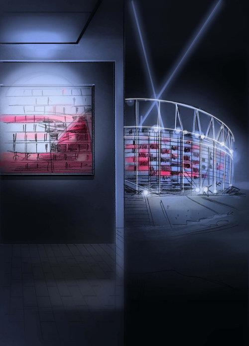 Storyboard illustration of stadium