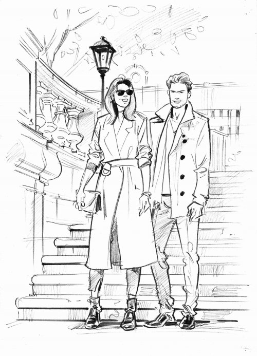 Line drawing of couple
