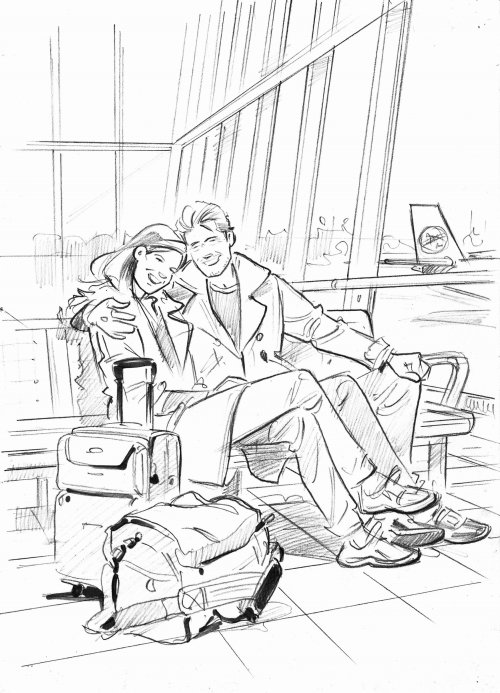 Line drawing of couple at airport
