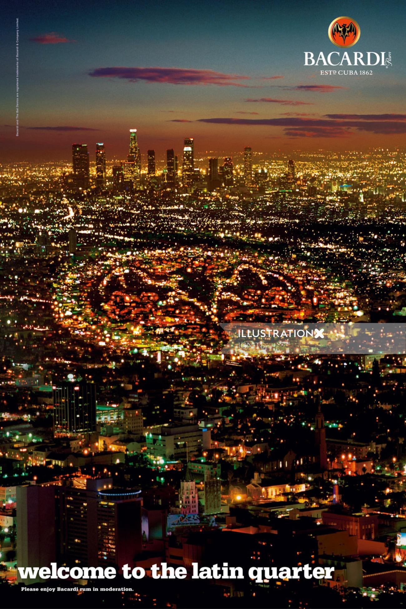 Aerial view of cityscape with lights