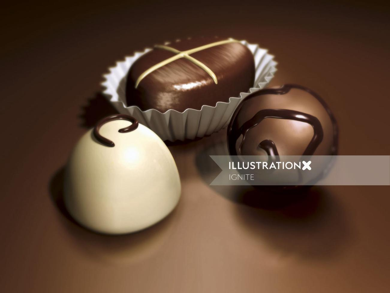 Beautiful Chocolates 3d Rendering Artwork
