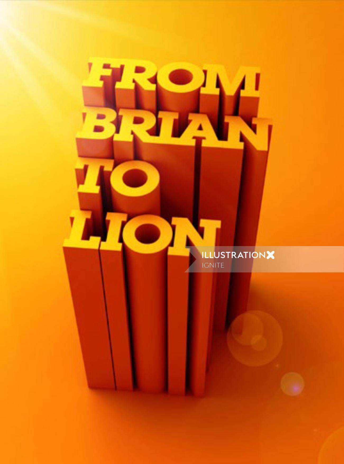 Lettering art of from brain to lion