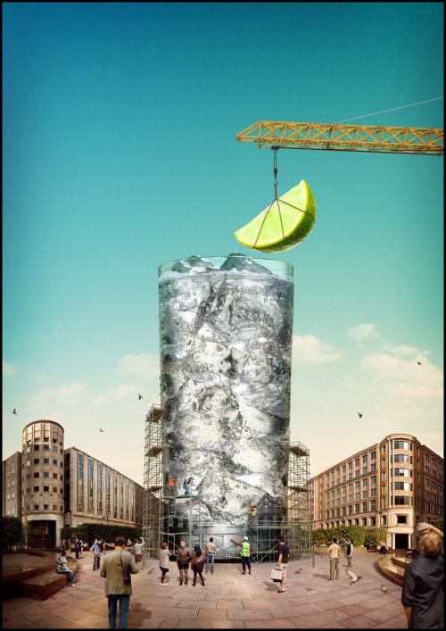 Cgi rendering art of gin drink