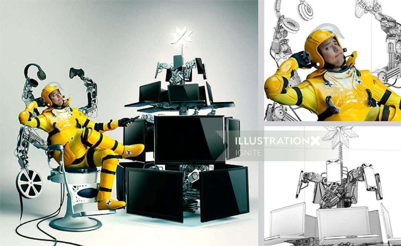 3D design of Folio man