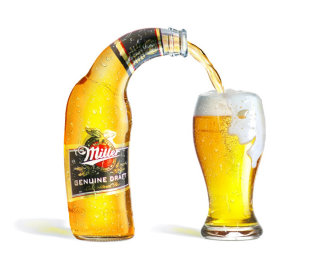3d Rendering Of Miller Bottle and Beer Glass