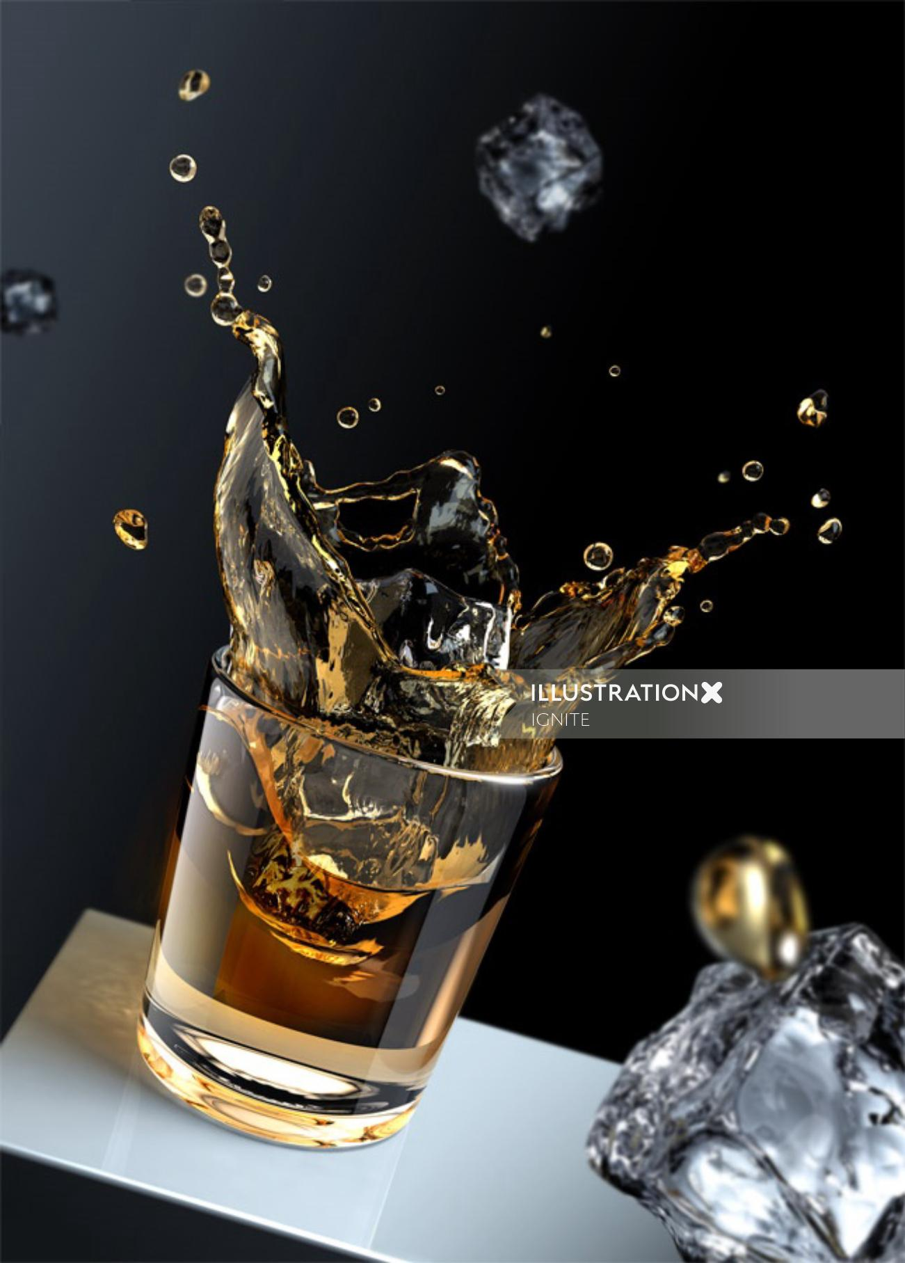 Photorealistic illustration of splash