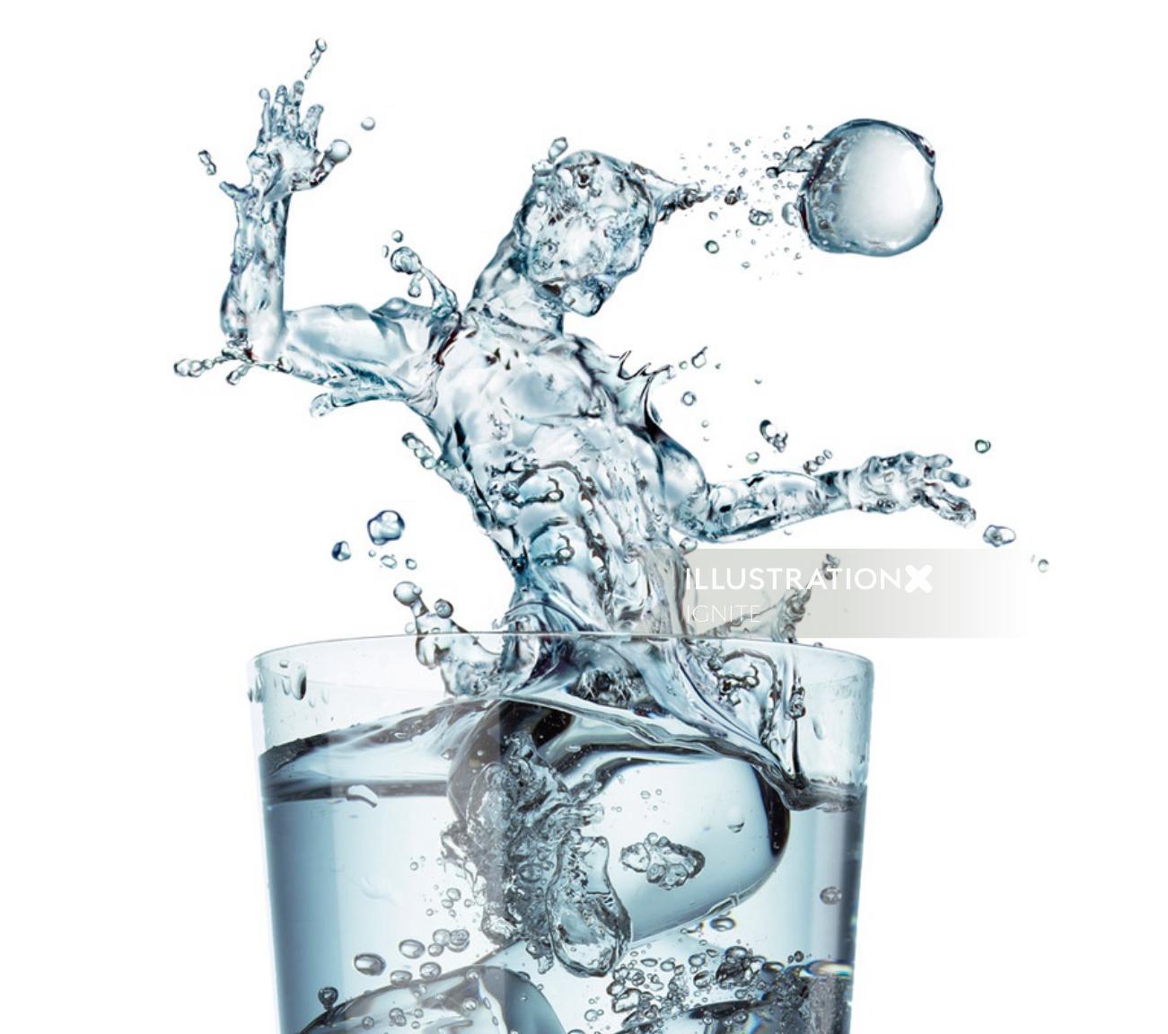 Soccer splash photorealistic illustration