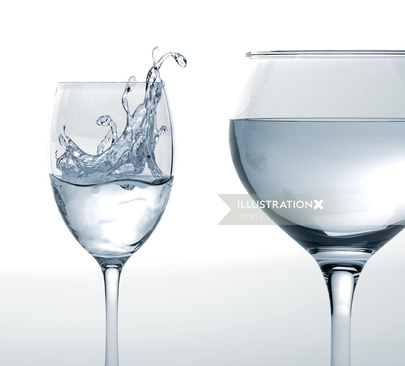 Graphic design of Glasses and splash