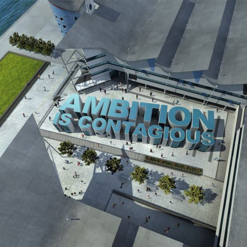 Aerial view of 'Ambition Is Contagious' Lettering