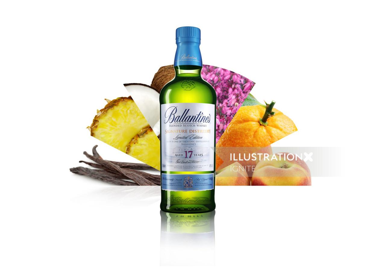 Food & Drink Illustration of Ballantines And Fruits