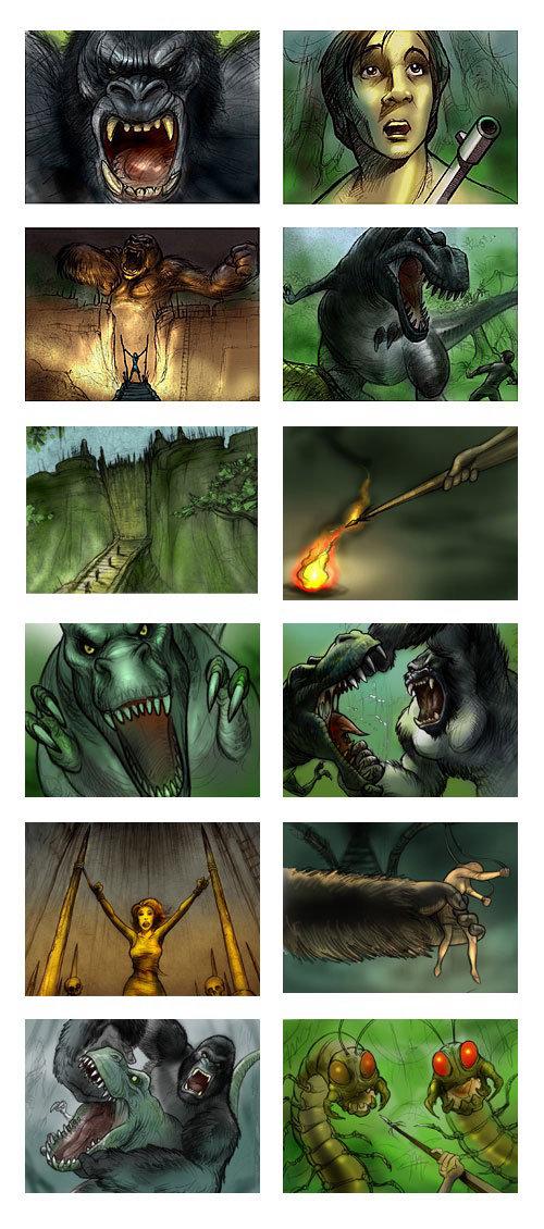Storyboard de fantasia King Kong