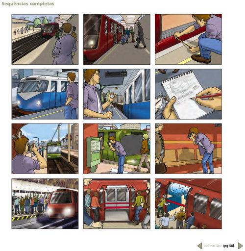pessoas no storyboard da estação ferroviária